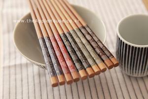 (창고정리 특가제품) 천연목 젓가락 - 플라워 도트무늬 5개세트